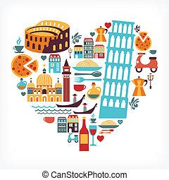 Italien Liebe - Herzform mit Vektor-Icons.