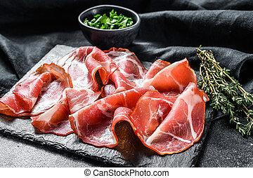 italienesche, schwarz, ansicht, antipasto, essen., populär, capicollo, oberseite, fleisch, coppa, capocollo, hintergrund.