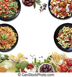 Italienische Gerichte kollabieren Nudeln und Zutaten
