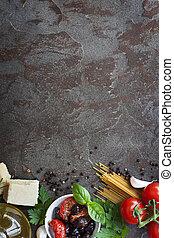 Italienische Küche mit Platz für Text.