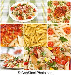 Italienische Nudeln. Essenskollage