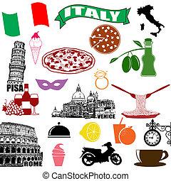 Italiens traditionelle italienische Symbole.