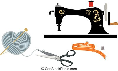 items:, hobby, nähen, strickzeug