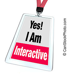 ja, etikett, namens abzeichen, teilnahme, interaktiv, gruppe