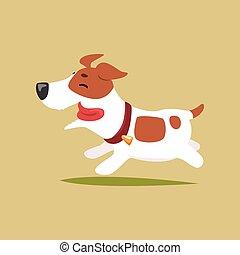 Jack Russell Welpe läuft, süße lustige Terrier-Vektorgrafik.