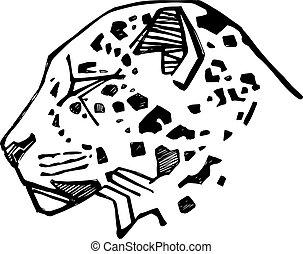 jaguar, abbildung, gesicht, vektor, gezeichnet, hand