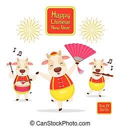 jahr, zusammen, glücklich, ochse, tanzen, oxes, chinesisches neues jahr, spielende musik