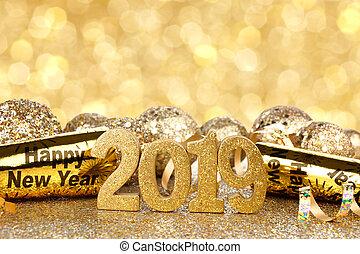 jahre, neu , vorabend, 2019, hintergrund, dekorationen, funkeln