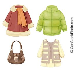 jahreszeiten, kleiden, satz, mantel, gepolstert, girls., parka, kleidung