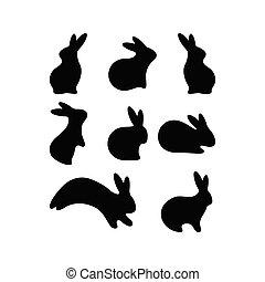 jahreszeiten, stil, ikone, einfache , ostern, set., vektor, etikett, logotype., postkarte, sticker., hase, schwarz, wohnung, kanninchen, bauernhoftiere, tier, kaninchen