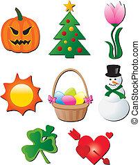 Jahreszeitliche Feiertagselemente.