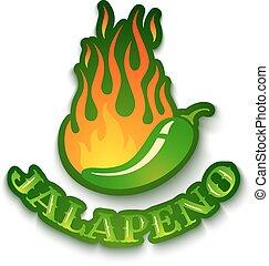 Jalapeno Pfeffer in Feuer.
