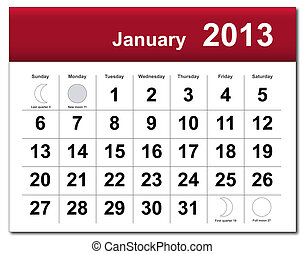 Januar 2013 Kalender