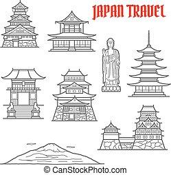 Japan reisen Wahrzeichen dünne Linien Icons.