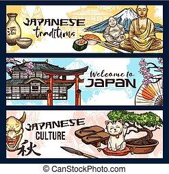 Japan symbolisiert Geschichte, Religion und Kultur