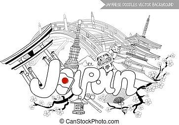 japan, vektor, abbildung, hintergrund, gekritzel