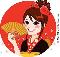 Japanische Frau hält Fan.