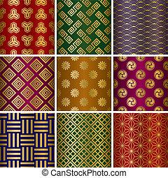 Japanische traditionelle Muster festgelegt