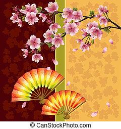 Japanischer Hintergrund mit Kirschbaum und Fans