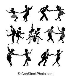 jazz, n, rolle, paare, gestein, tanzen, satz