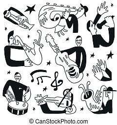 Jazzmusiker - Doodles Set.