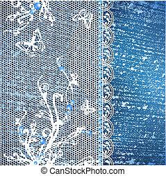 Jeans Hintergrund mit Spitzenrahmen