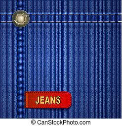 jeansstoff, roter hintergrund, etikett