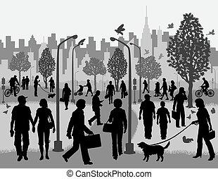Jeden Tag Menschen in einem Stadtpark.