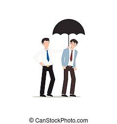 jedes, freund, geschaeftswelt, white., freigestellt, zeichen, ander., wohnung, abbildung, karikatur, design, portion, umbrella., begriff, mann, geben