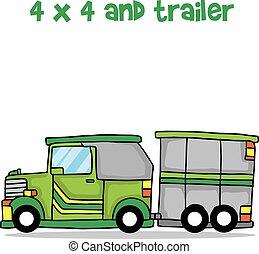 Jeep und Trailer Cartoon Design Vektor.