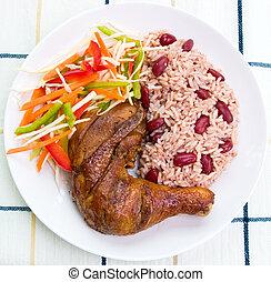Jerk Chicken mit Reis - karibbeanischer Stil