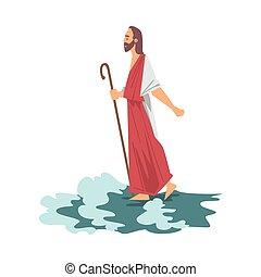 jesus, abbildung, neues testament, bibel, wunder, gehen, wasser, vektor