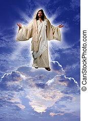 Jesus auf einer Wolke.