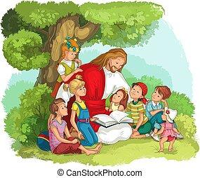 jesus, bibel, lesende , vektor, christ, children., abbildung, karikatur