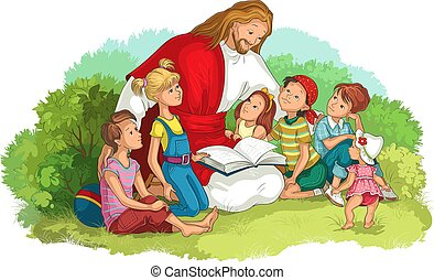 jesus, bibel, lesende , vektor, christ, kinder, freigestellt, white., abbildung, karikatur