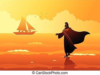 Jesus Christus geht auf Wasser