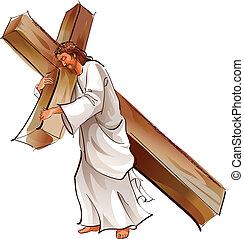 Jesus Christus hält Kreuz.