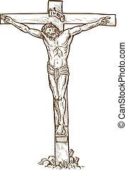 Jesus Christus hängt am Kreuz