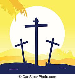 Jesus Christus - Kalorienszene mit drei Kreuzen