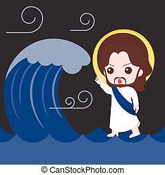 Jesus geht auf See und beruhigt den Unwetter , Bibelgeschichten Illustration, flaches Design.