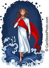 Jesus geht auf Wasser