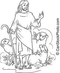 Jesus Hirte umrissen
