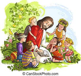 jesus, kinder, lesende , bibel