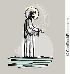 Jesus läuft auf dem Wasser.