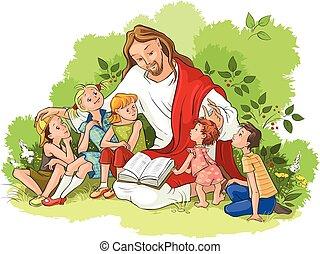 Jesus liest die Bibel für Kinder.