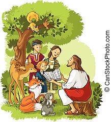 Jesus liest die Bibel für Kinder und Tiere