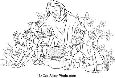 Jesus liest die Bibel zu den Kindern Farbe Seite.