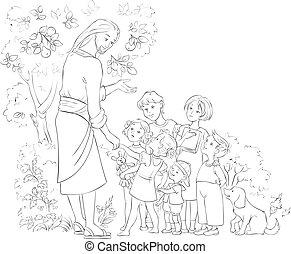 Jesus mit den Kindern Farbe Seite