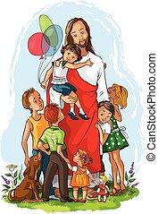 Jesus mit Kindern.