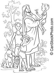 Jesus mit Kindern umrissen